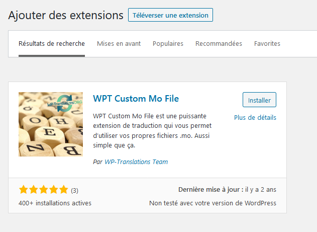 Installer l'extension WPT Custom Mo File